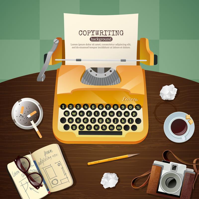 ¿Qué es un copywriter? Máquina de escribir antigua, lápiz, café...