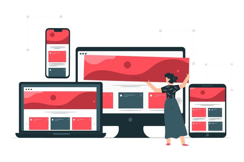 Chica optimizando el responsive para tener un diseño web a medida.